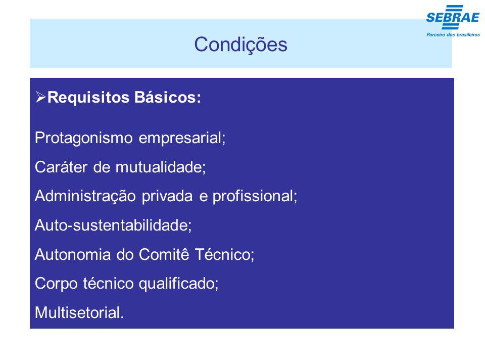 Condições  Requisitos Básicos: Protagonismo empresarial; Caráter de mutualidade; Administração privada e profissional; Auto-sustentabilidade; Autonomia do Comitê Técnico; Corpo técnico qualificado; Multisetorial.