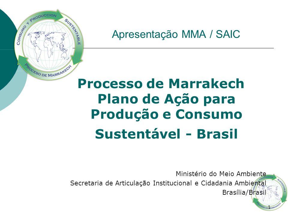 1 Apresentação MMA / SAIC Processo de Marrakech Plano de Ação para Produção e Consumo Sustentável - Brasil Ministério do Meio Ambiente Secretaria de A