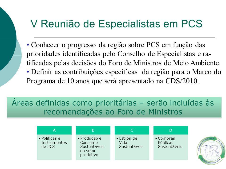 V Reunião de Especialistas em PCS Conhecer o progresso da região sobre PCS em função das prioridades identificadas pelo Conselho de Especialistas e ra