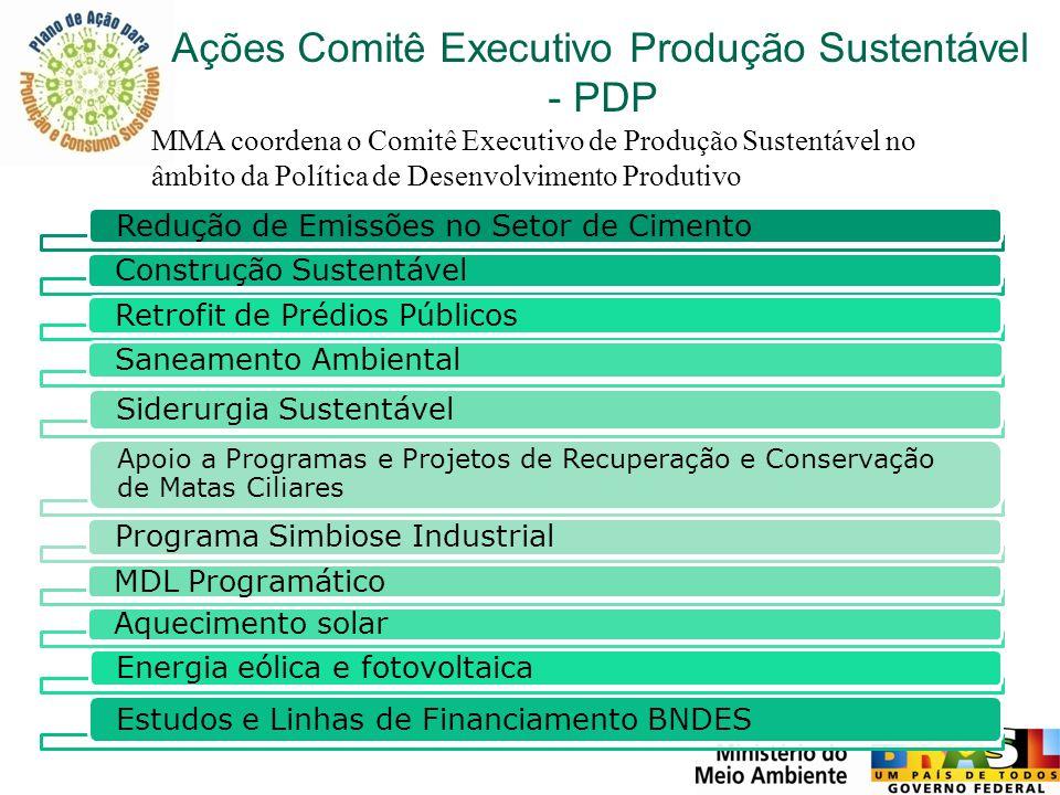 Ações Comitê Executivo Produção Sustentável - PDP Redução de Emissões no Setor de Cimento Construção Sustentável Retrofit de Prédios PúblicosSaneament