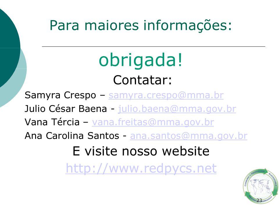 23 Para maiores informações: obrigada! Contatar: Samyra Crespo – samyra.crespo@mma.brsamyra.crespo@mma.br Julio César Baena - julio.baena@mma.gov.brju
