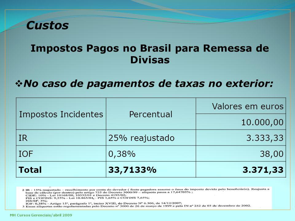 Custos Impostos IncidentesPercentual Valores em euros 10.000,00 IR25% reajustado3.333,33 IOF0,38%38,00 Total33,7133%3.371,33 Impostos Pagos no Brasil para Remessa de Divisas  No caso de pagamentos de taxas no exterior: MH Cursos Gerenciais/abril 2009