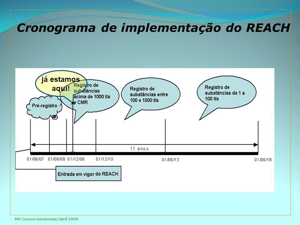 Cronograma de implementação do REACH j já estamos aqui! MH Cursos Gerenciais/abril 2009