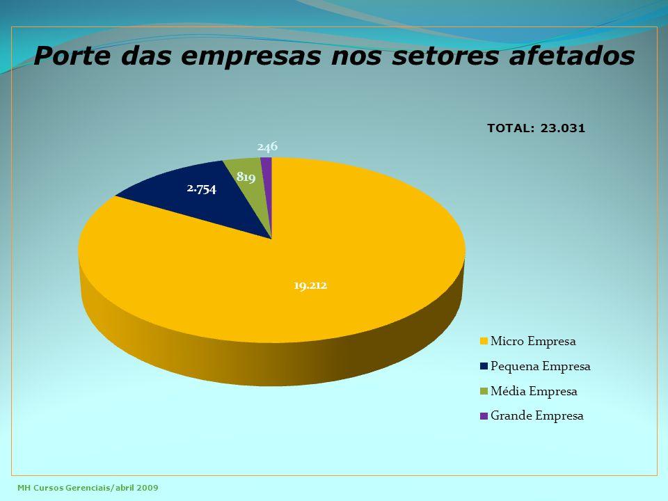Porte das empresas nos setores afetados TOTAL: 23.031 MH Cursos Gerenciais/abril 2009