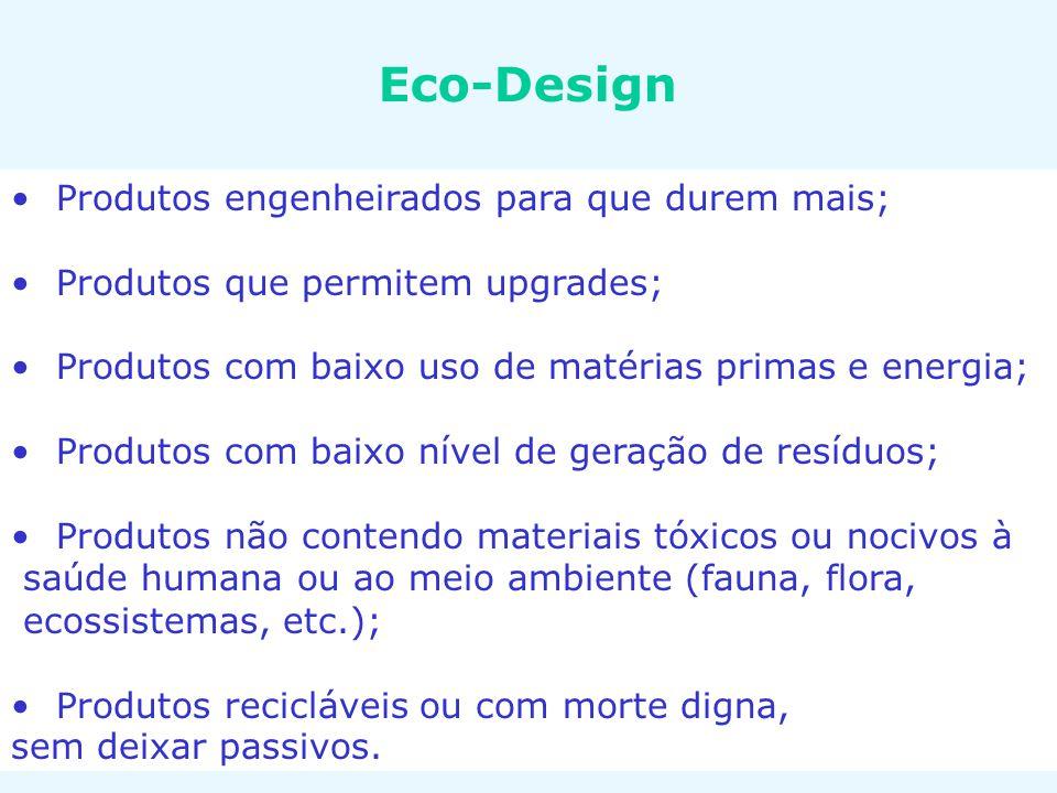 Eco-Design Produtos engenheirados para que durem mais; Produtos que permitem upgrades; Produtos com baixo uso de matérias primas e energia; Produtos c