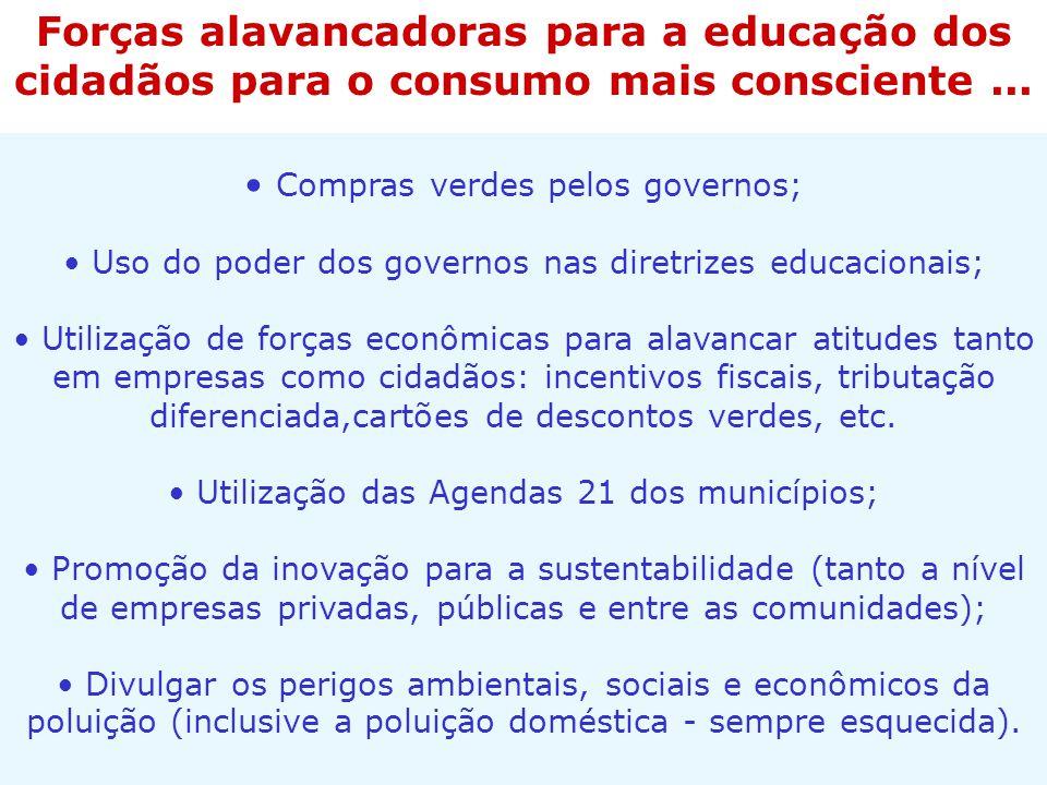 Compras verdes pelos governos; Uso do poder dos governos nas diretrizes educacionais; Utilização de forças econômicas para alavancar atitudes tanto em