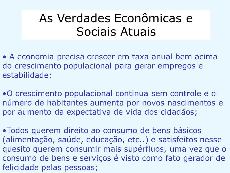 As Verdades Econômicas e Sociais Atuais A economia precisa crescer em taxa anual bem acima do crescimento populacional para gerar empregos e estabilid