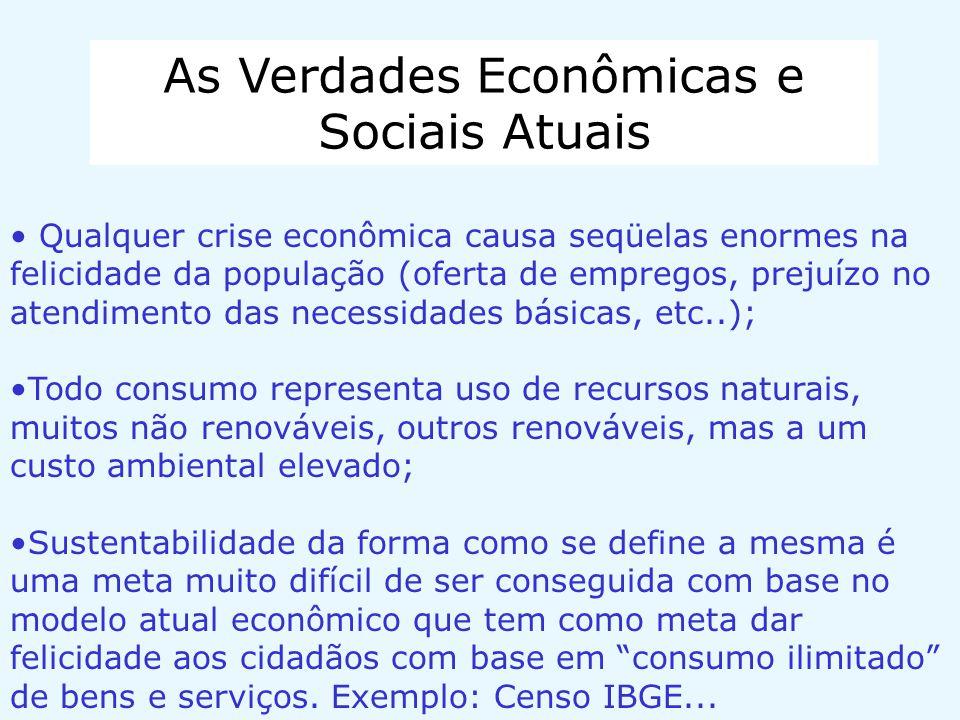 As Verdades Econômicas e Sociais Atuais Qualquer crise econômica causa seqüelas enormes na felicidade da população (oferta de empregos, prejuízo no at