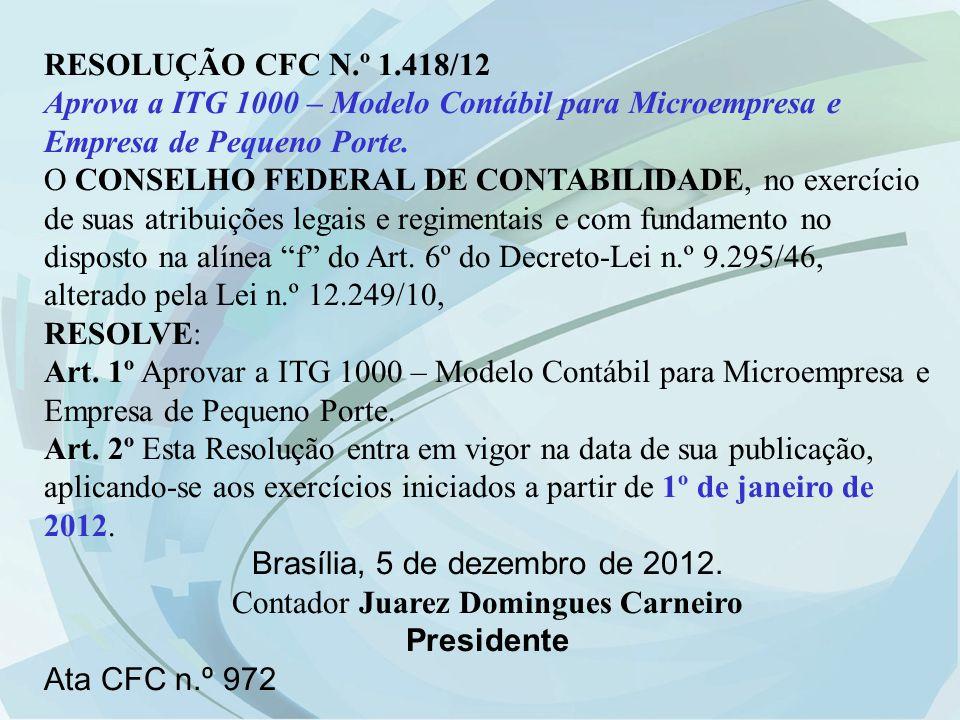 RESOLUÇÃO CFC N.º 1.418/12 Aprova a ITG 1000 – Modelo Contábil para Microempresa e Empresa de Pequeno Porte. O CONSELHO FEDERAL DE CONTABILIDADE, no e