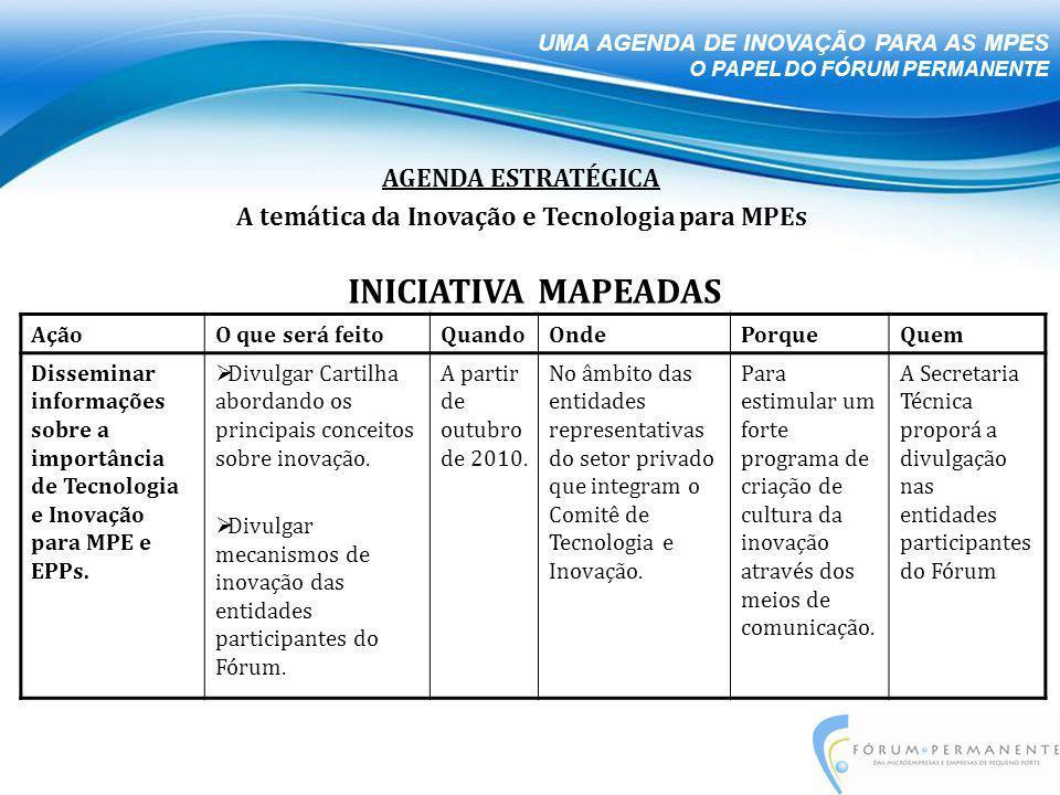 AçãoO que será feitoQuandoOndePorqueQuem Disseminar informações sobre a importância de Tecnologia e Inovação para MPE e EPPs.