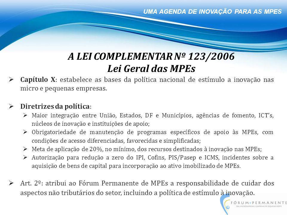 UMA AGENDA DE INOVAÇÃO PARA AS MPES  Capítulo X: estabelece as bases da política nacional de estímulo a inovação nas micro e pequenas empresas.