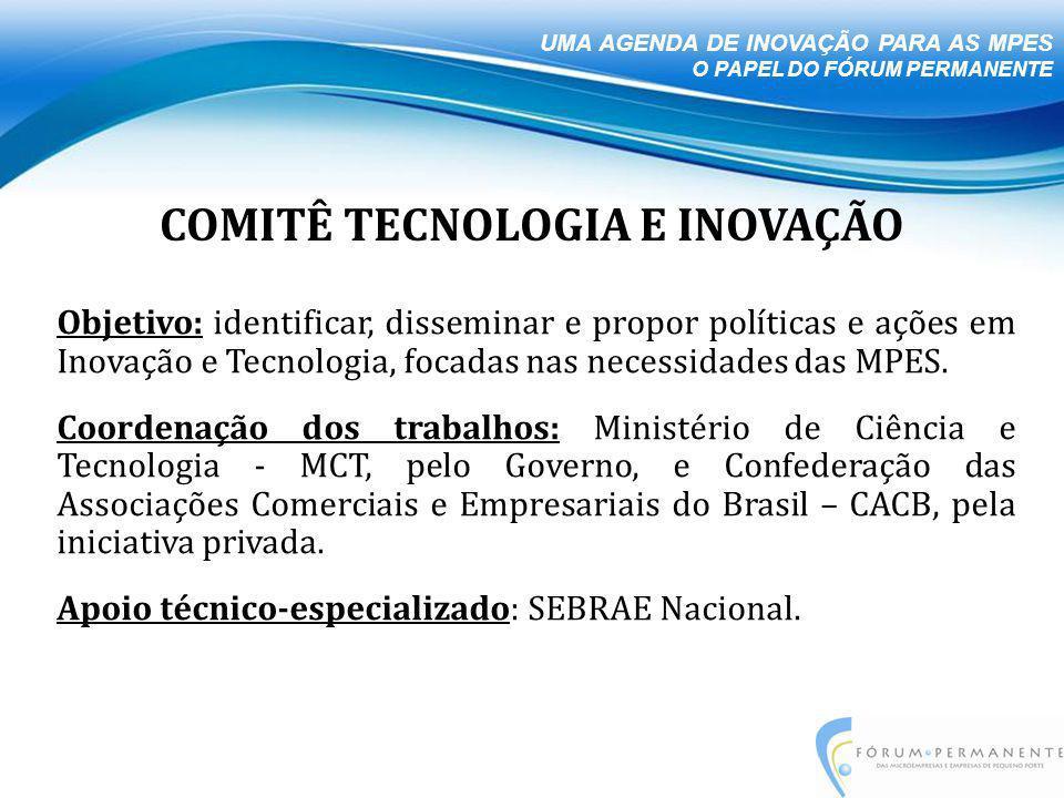 Objetivo: identificar, disseminar e propor políticas e ações em Inovação e Tecnologia, focadas nas necessidades das MPES.