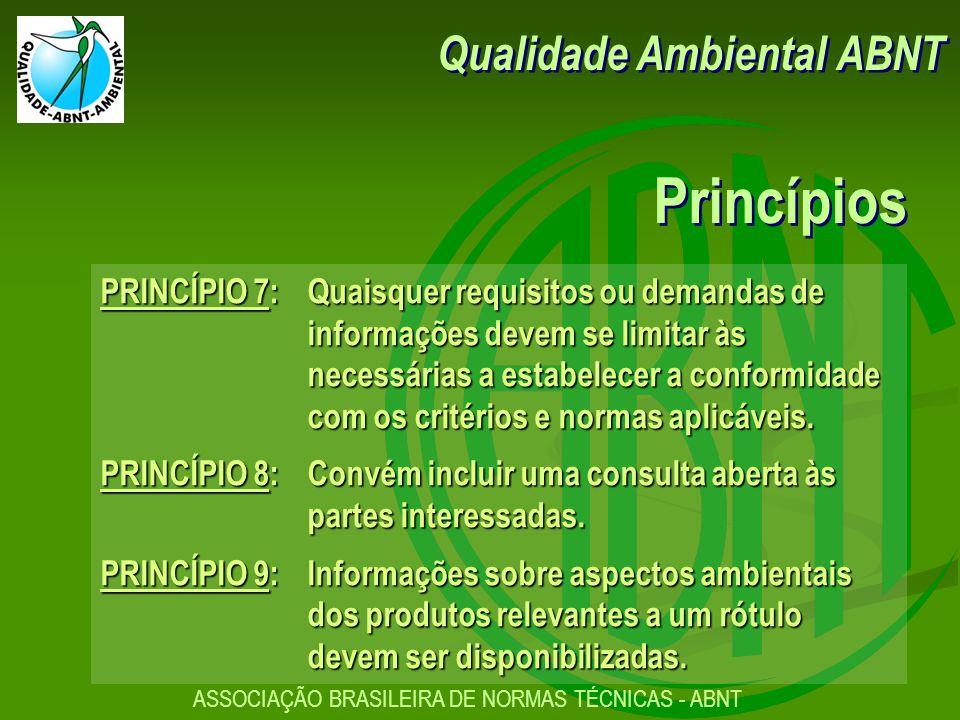 ASSOCIAÇÃO BRASILEIRA DE NORMAS TÉCNICAS - ABNT PRINCÍPIO 7:Quaisquer requisitos ou demandas de informações devem se limitar às necessárias a estabelecer a conformidade com os critérios e normas aplicáveis.