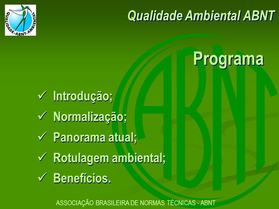 Qualidade Ambiental ABNT Programa Introdução; Normalização; Panorama atual; Rotulagem ambiental; Benefícios.