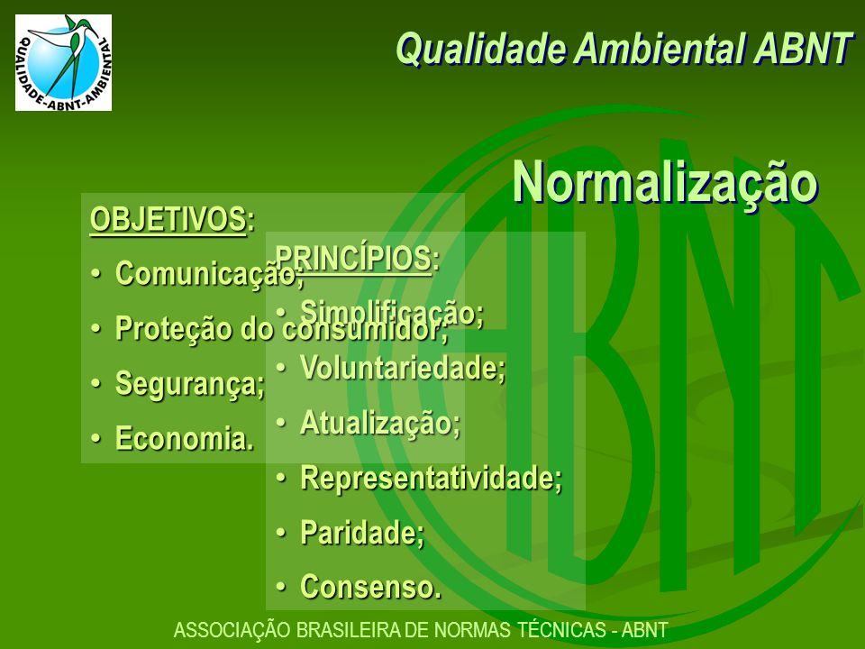 ASSOCIAÇÃO BRASILEIRA DE NORMAS TÉCNICAS - ABNT PRINCÍPIOS: Simplificação; Simplificação; Voluntariedade; Voluntariedade; Atualização; Atualização; Representatividade; Representatividade; Paridade; Paridade; Consenso.
