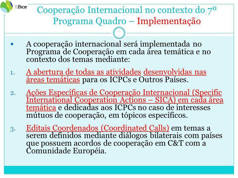 Cooperação Internacional no contexto do 7º Programa Quadro – Implementação A cooperação internacional será implementada no Programa de Cooperação em cada área temática e no contexto dos temas mediante: 1.