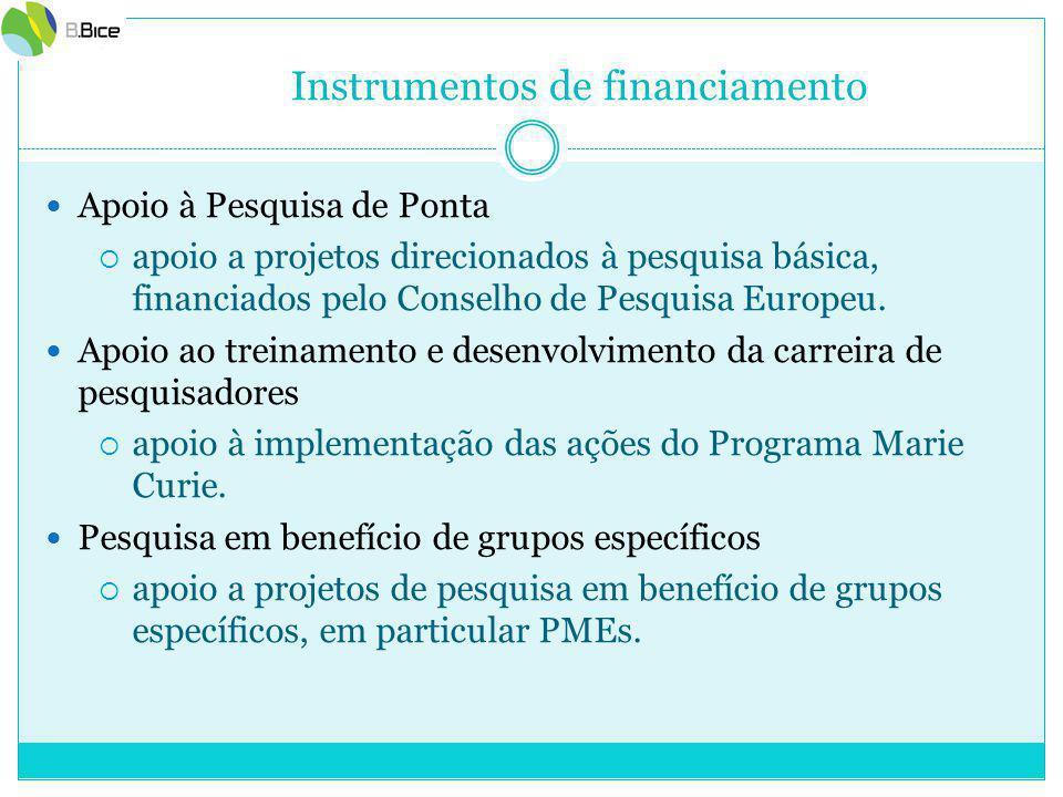 Instrumentos de financiamento Apoio à Pesquisa de Ponta  apoio a projetos direcionados à pesquisa básica, financiados pelo Conselho de Pesquisa Europeu.