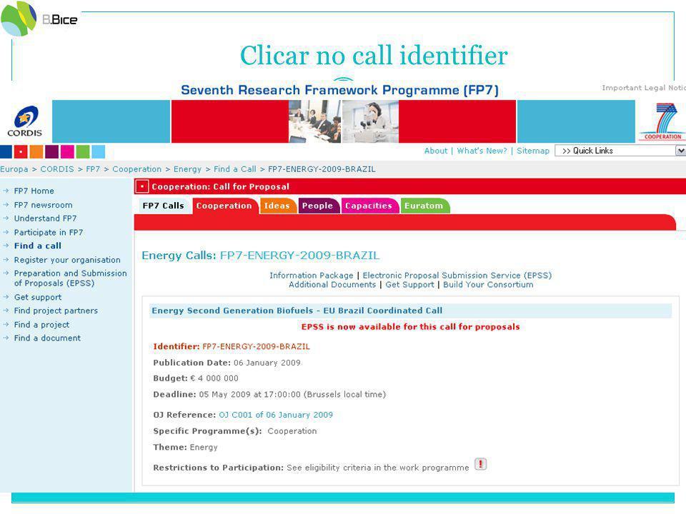 Clicar no call identifier
