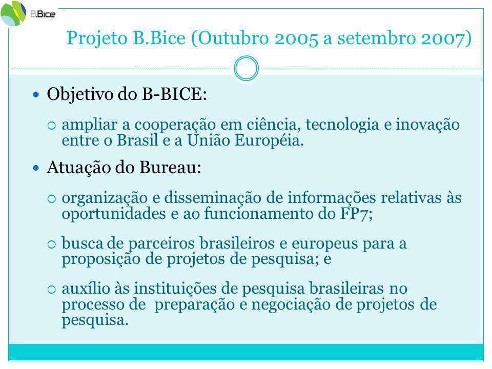 Projeto B.Bice (Outubro 2005 a setembro 2007) Objetivo do B-BICE:  ampliar a cooperação em ciência, tecnologia e inovação entre o Brasil e a União Européia.
