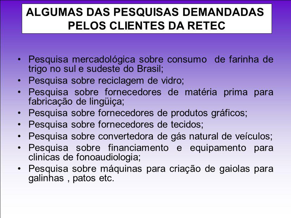 Pesquisa mercadológica sobre consumo de farinha de trigo no sul e sudeste do Brasil; Pesquisa sobre reciclagem de vidro; Pesquisa sobre fornecedores d