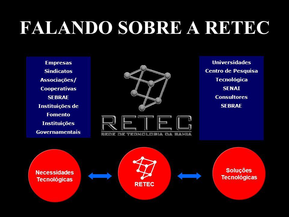 FALANDO SOBRE A RETEC Empresas Sindicatos Associações/ Cooperativas SEBRAE Instituições de Fomento Instituições Governamentais Universidades Centro de