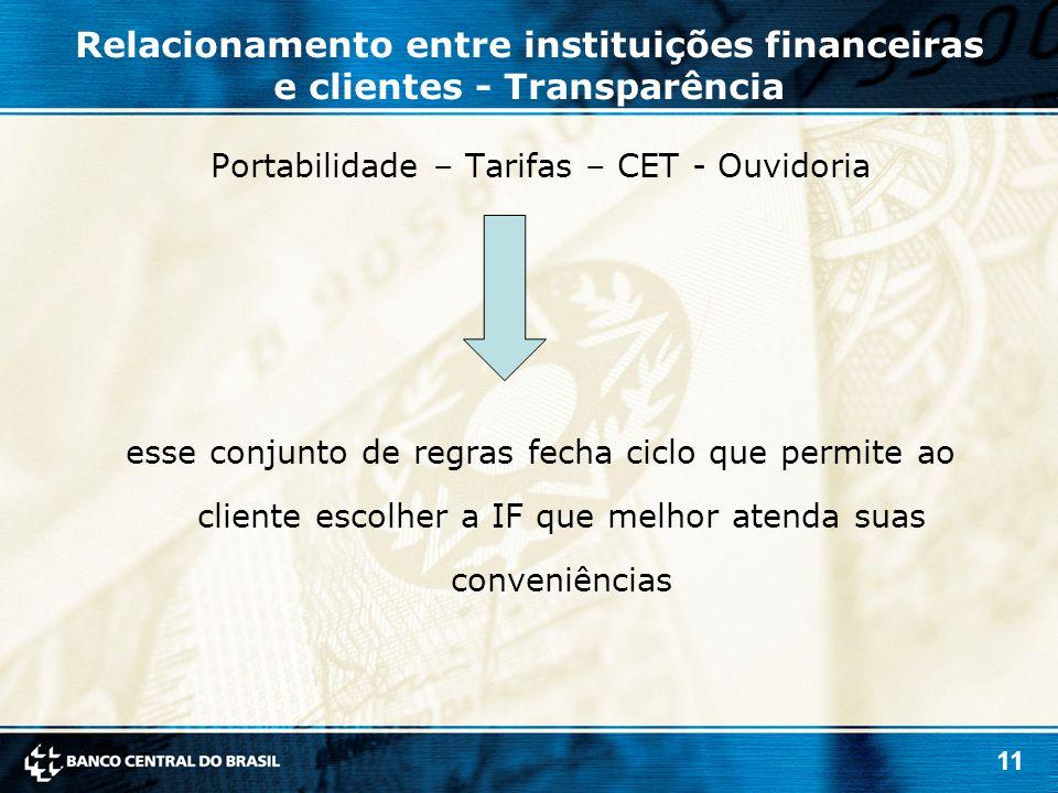 11 Relacionamento entre instituições financeiras e clientes - Transparência Portabilidade – Tarifas – CET - Ouvidoria esse conjunto de regras fecha ciclo que permite ao cliente escolher a IF que melhor atenda suas conveniências