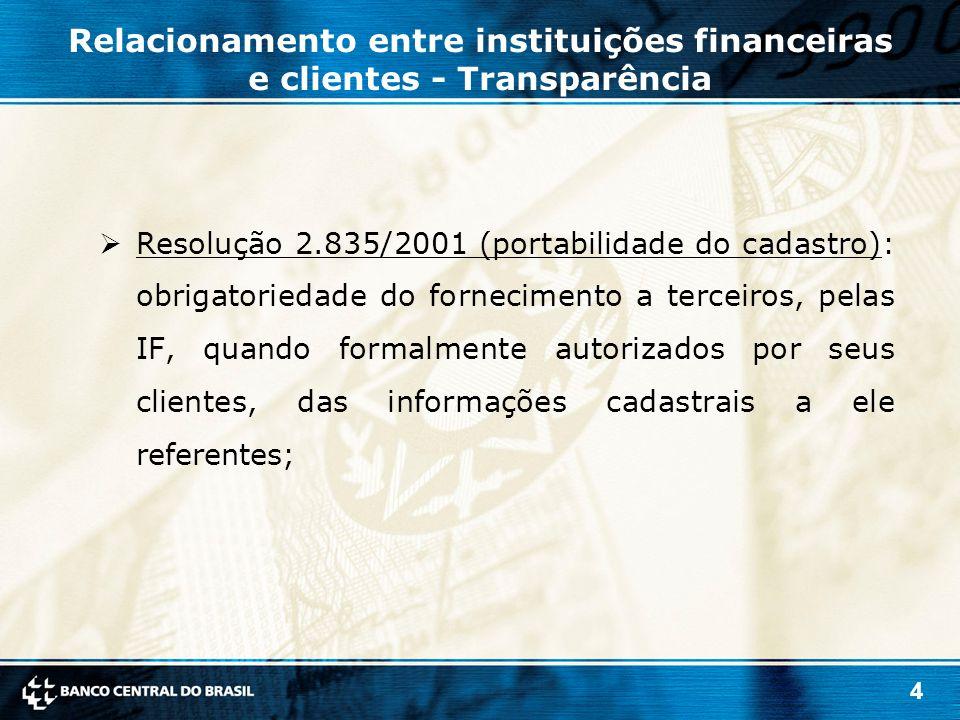 5  Resolução 3.401/2006 (portabilidade do crédito): permite a transferência do saldo devedor de um contrato de crédito ou de arrendamento mercantil de uma IF ou sociedade de arrendamento mercantil para outra instituição da espécie, por vontade do devedor e sem ônus para ele; Relacionamento entre instituições financeiras e clientes - Transparência