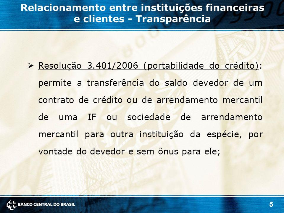 5  Resolução 3.401/2006 (portabilidade do crédito): permite a transferência do saldo devedor de um contrato de crédito ou de arrendamento mercantil d