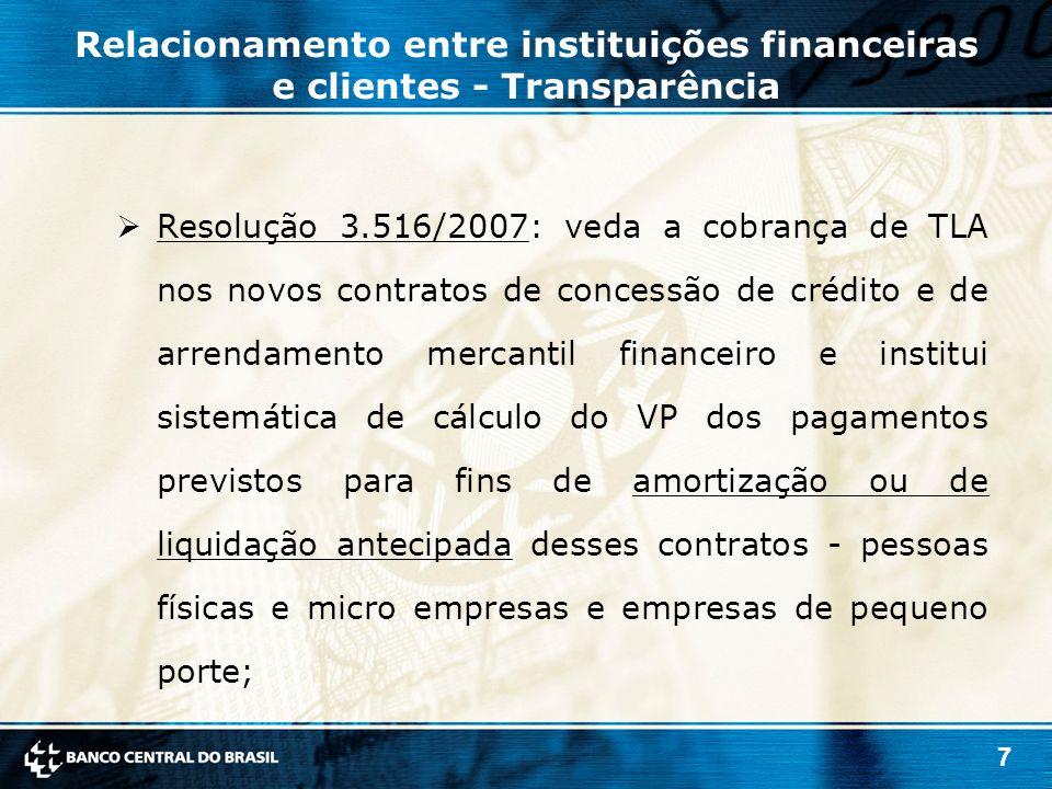 7  Resolução 3.516/2007: veda a cobrança de TLA nos novos contratos de concessão de crédito e de arrendamento mercantil financeiro e institui sistemá