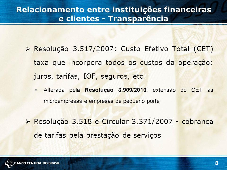 8 Relacionamento entre instituições financeiras e clientes - Transparência  Resolução 3.517/2007: Custo Efetivo Total (CET) taxa que incorpora todos