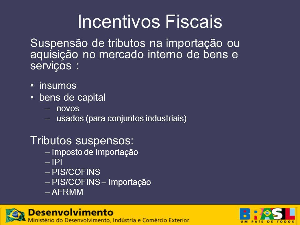 Incentivos Fiscais Suspensão de tributos na importação ou aquisição no mercado interno de bens e serviços : insumos bens de capital – novos – usados (