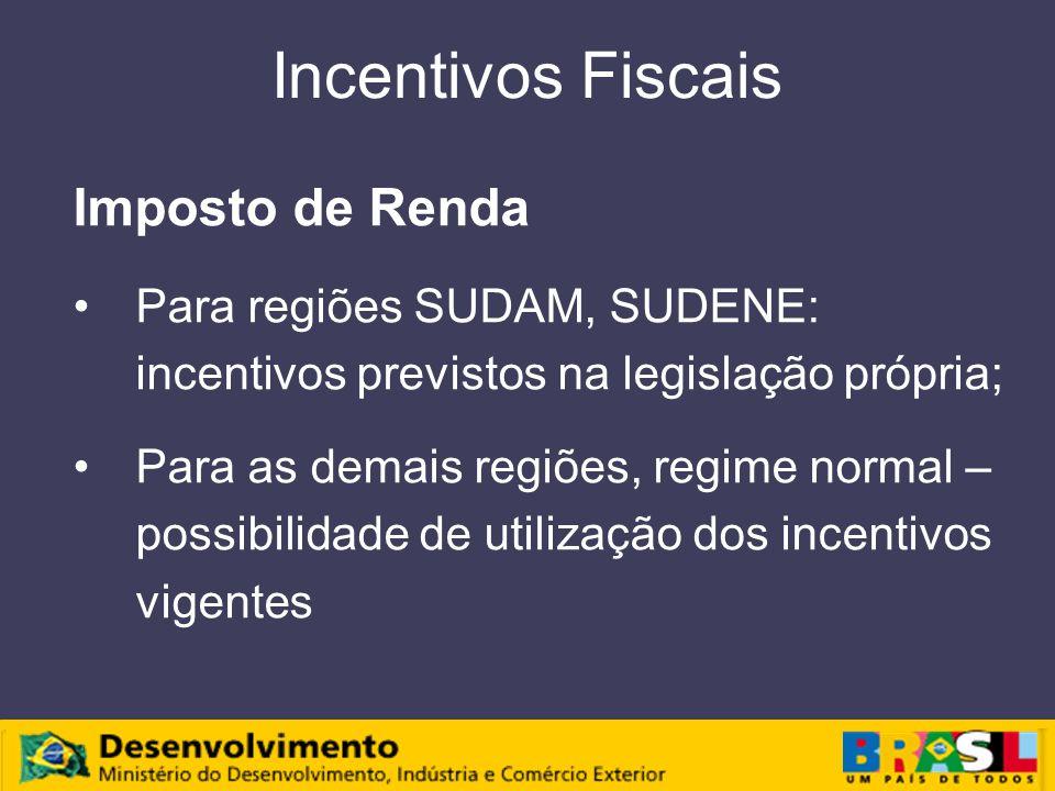 Incentivos Fiscais Imposto de Renda Para regiões SUDAM, SUDENE: incentivos previstos na legislação própria; Para as demais regiões, regime normal – possibilidade de utilização dos incentivos vigentes