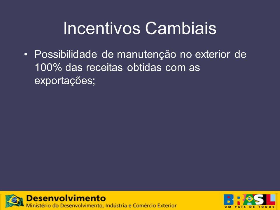 Incentivos Cambiais Possibilidade de manutenção no exterior de 100% das receitas obtidas com as exportações;