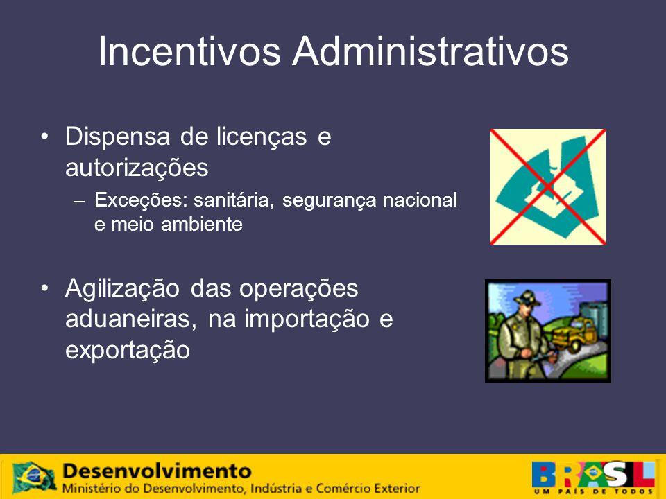 Incentivos Administrativos Dispensa de licenças e autorizações –Exceções: sanitária, segurança nacional e meio ambiente Agilização das operações aduaneiras, na importação e exportação