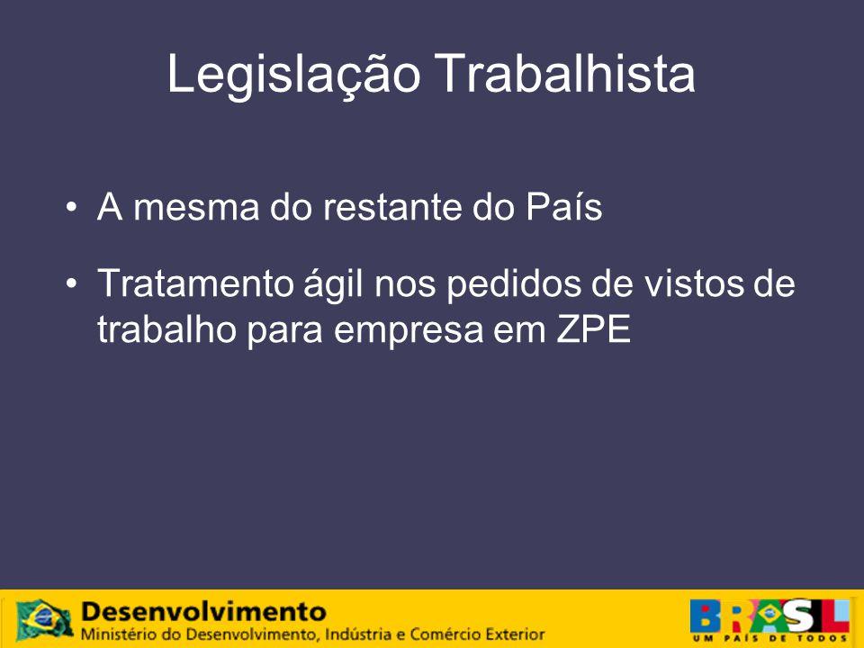 Legislação Trabalhista A mesma do restante do País Tratamento ágil nos pedidos de vistos de trabalho para empresa em ZPE