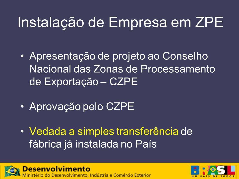 Instalação de Empresa em ZPE Apresentação de projeto ao Conselho Nacional das Zonas de Processamento de Exportação – CZPE Aprovação pelo CZPE Vedada a simples transferência de fábrica já instalada no País