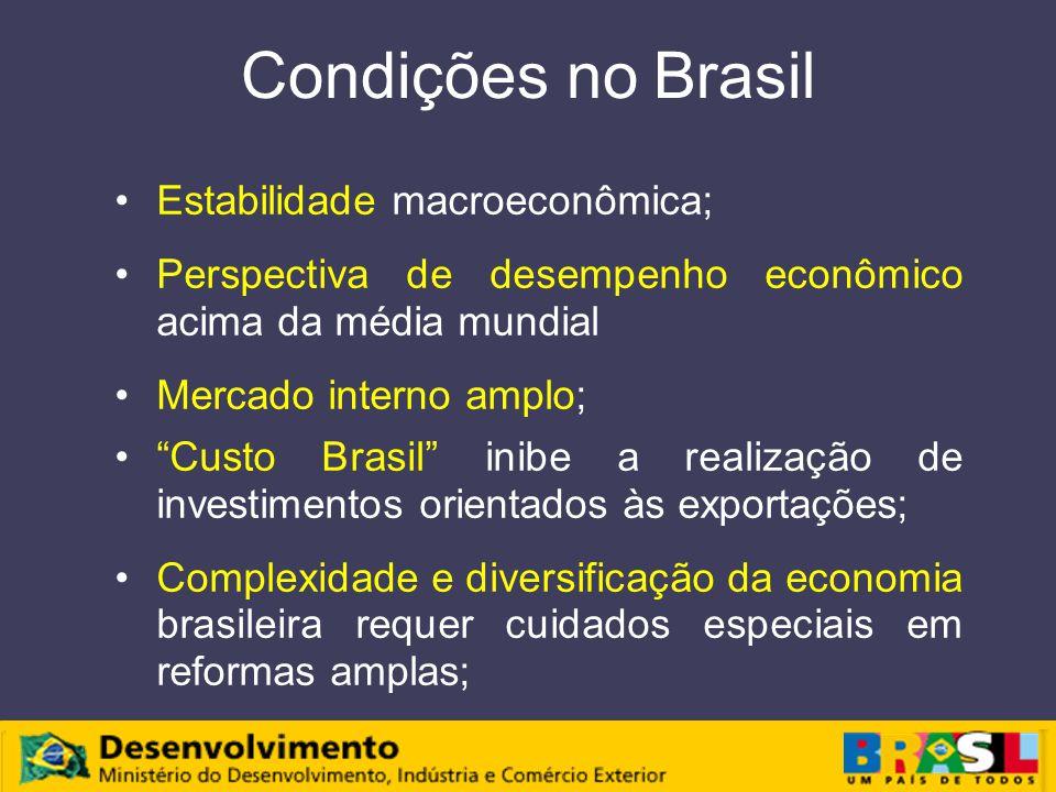 Condições no Brasil Estabilidade macroeconômica; Perspectiva de desempenho econômico acima da média mundial Mercado interno amplo; Custo Brasil inibe a realização de investimentos orientados às exportações; Complexidade e diversificação da economia brasileira requer cuidados especiais em reformas amplas;