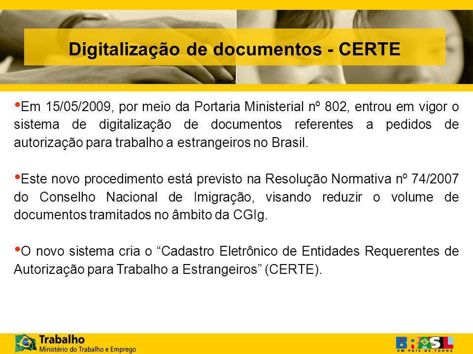 Digitalização de documentos - CERTE Em 15/05/2009, por meio da Portaria Ministerial nº 802, entrou em vigor o sistema de digitalização de documentos referentes a pedidos de autorização para trabalho a estrangeiros no Brasil.