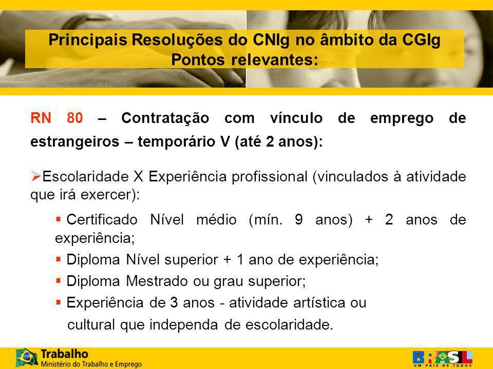 Principais Resoluções do CNIg no âmbito da CGIg Pontos relevantes: RN 80 – Contratação com vínculo de emprego de estrangeiros – temporário V (até 2 anos):  Escolaridade X Experiência profissional (vinculados à atividade que irá exercer):  Certificado Nível médio (mín.