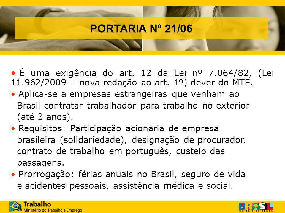PORTARIA Nº 21/06 É uma exigência do art.