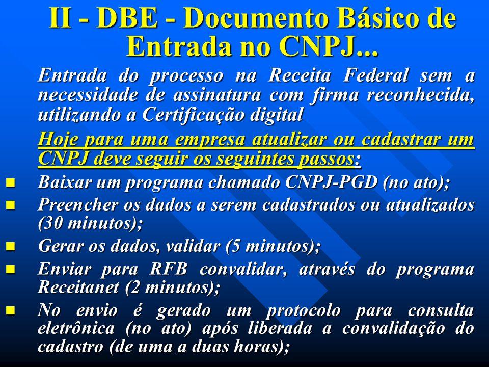 II - DBE - Documento Básico de Entrada no CNPJ... Entrada do processo na Receita Federal sem a necessidade de assinatura com firma reconhecida, utiliz