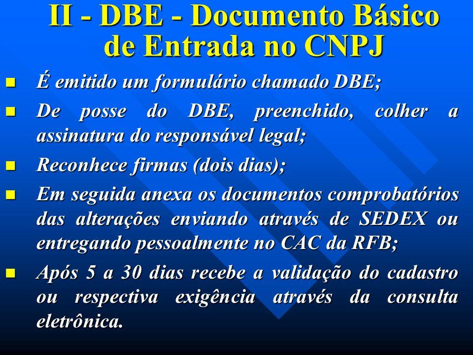 II - DBE - Documento Básico de Entrada no CNPJ É emitido um formulário chamado DBE; É emitido um formulário chamado DBE; De posse do DBE, preenchido,