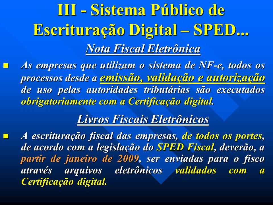 III - Sistema Público de Escrituração Digital – SPED... Nota Fiscal Eletrônica As empresas que utilizam o sistema de NF-e, todos os processos desde a