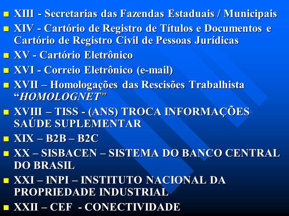 XIII - Secretarias das Fazendas Estaduais / Municipais XIII - Secretarias das Fazendas Estaduais / Municipais XIV - Cartório de Registro de Títulos e
