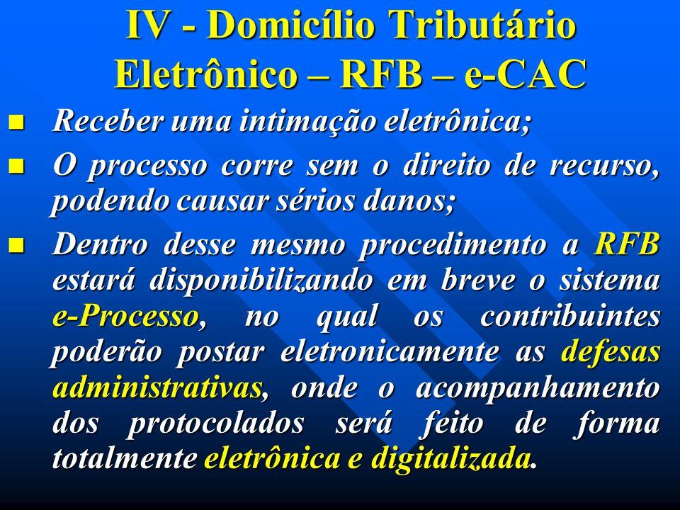 IV - Domicílio Tributário Eletrônico – RFB – e-CAC Receber uma intimação eletrônica; Receber uma intimação eletrônica; O processo corre sem o direito