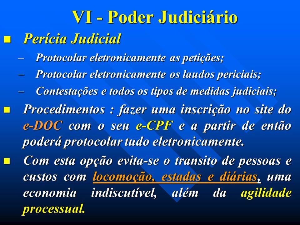 VI - Poder Judiciário Perícia Judicial Perícia Judicial –Protocolar eletronicamente as petições; –Protocolar eletronicamente os laudos periciais; –Con