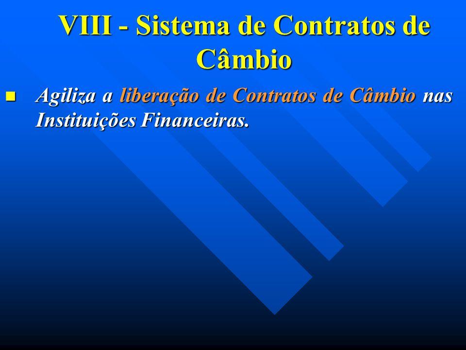VIII - Sistema de Contratos de Câmbio Agiliza a liberação de Contratos de Câmbio nas Instituições Financeiras. Agiliza a liberação de Contratos de Câm
