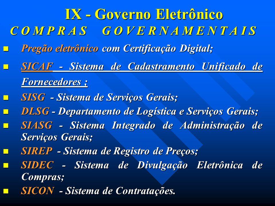 IX - Governo Eletrônico C O M P R A S G O V E R N A M E N T A I S Pregão eletrônico com Certificação Digital; Pregão eletrônico com Certificação Digit