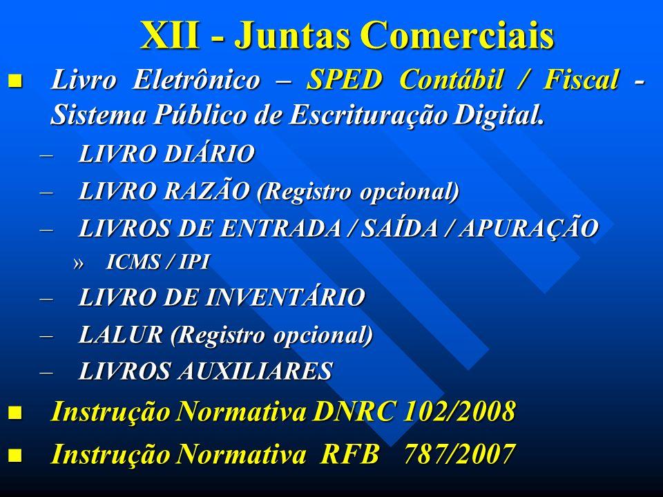 XII - Juntas Comerciais Livro Eletrônico – SPED Contábil / Fiscal - Sistema Público de Escrituração Digital. Livro Eletrônico – SPED Contábil / Fiscal