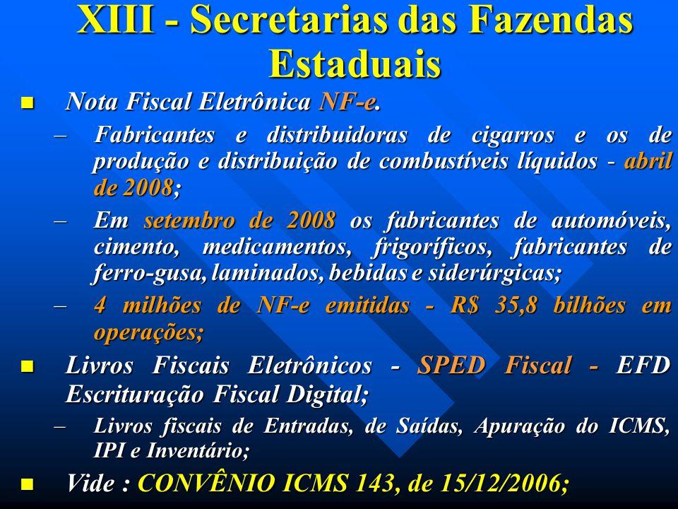 XIII - Secretarias das Fazendas Estaduais Nota Fiscal Eletrônica NF-e. Nota Fiscal Eletrônica NF-e. –Fabricantes e distribuidoras de cigarros e os de